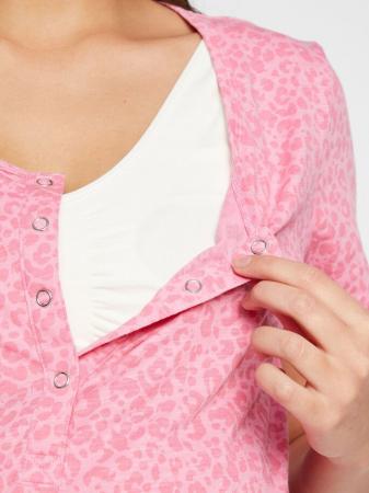 Pijama gravide si alaptare din bumbac organic Mamalicious Leopard3