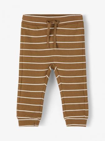 Pantaloni bebelusi, bumbac organic, baieti - Name It Timol Coffee0