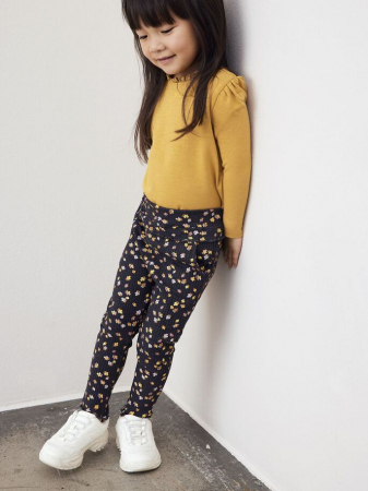 Pantaloni copii, bumbac organic, fete - Name It Thurid Dark0