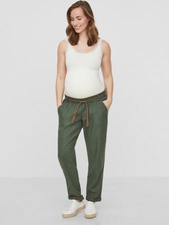 Pantaloni pentru gravide Mamalicious Beach din in - verde0