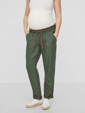 Pantaloni pentru gravide Mamalicious Beach din in - verde1