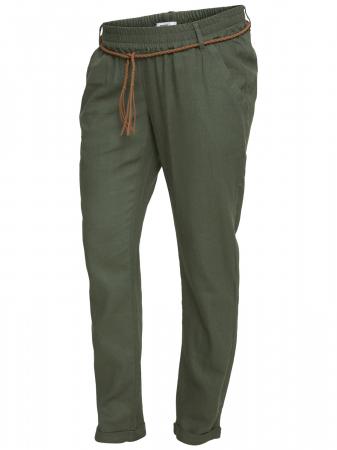 Pantaloni pentru gravide Mamalicious Beach din in - verde4