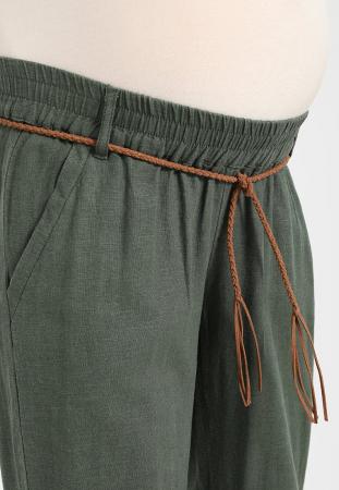 Pantaloni pentru gravide Mamalicious Beach din in - verde2