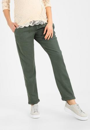 Pantaloni pentru gravide Mamalicious Beach din in - verde7