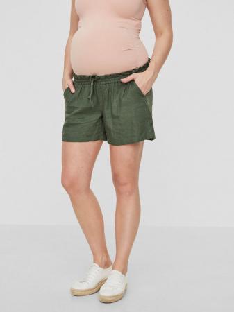 Pantaloni scurți gravide din in Mamalicious Linen Woven2