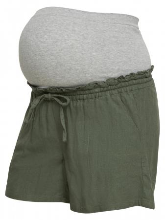 Pantaloni scurți gravide din in Mamalicious Linen Woven3