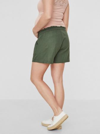 Pantaloni scurți gravide din in Mamalicious Linen Woven1