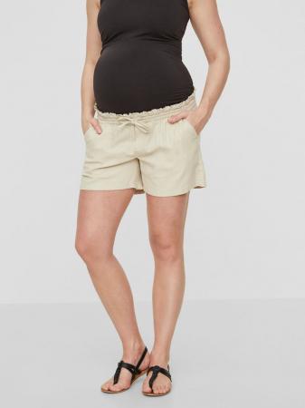 Pantaloni scurti din in pentru gravide Mamalicious Linen2