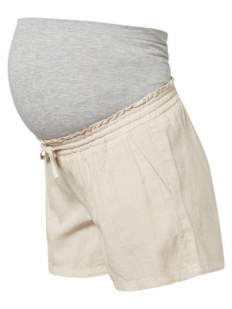 Pantaloni scurti din in pentru gravide Mamalicious Linen4