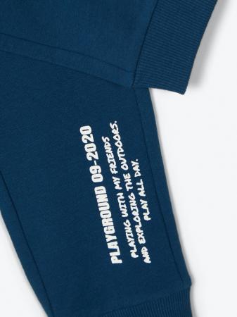 Pantaloni trening copii, bumbac organic, baieti – Name It Lanis albastru3