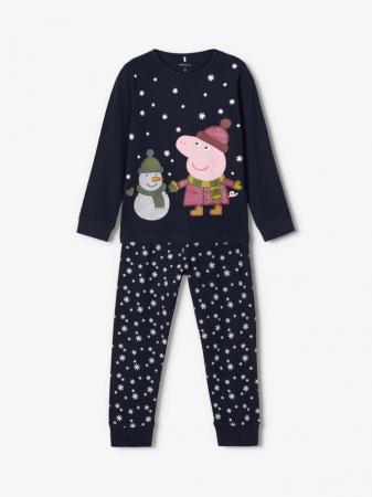 Pijama copii, bumbac organic, fete - Name It Peppa Pig0