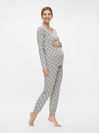 Pijama gravide, bluza si pantalon, bumbac organic – Mamalicious Rib0