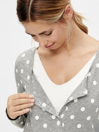 Pijama gravide, bluza si pantalon, bumbac organic – Mamalicious Rib2