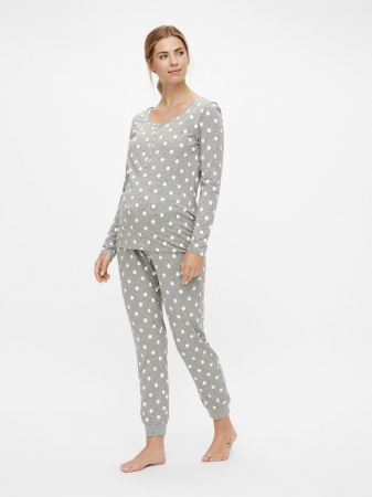 Pijama gravide, bluza si pantalon, bumbac organic – Mamalicious Rib1