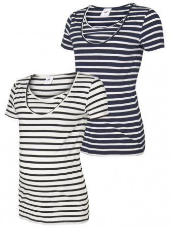 Set 2 tricouri navy pentru gravide si alaptare Mamalicious Nell0