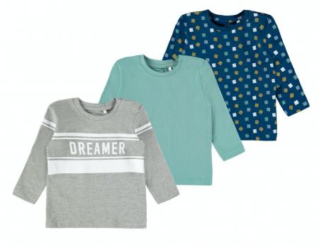 Set 3 bluze bebelusi, bumbac organic, baieti - Kalop0