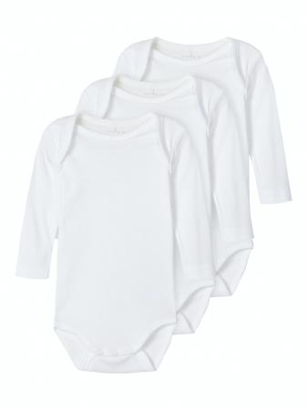 Set 3 body-uri bebelusi, bumbac organic, alb - Solid white0