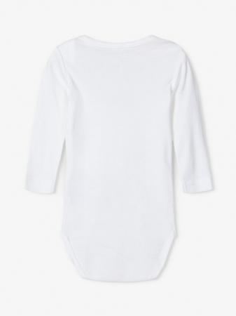 Set 3 body-uri bebelusi, bumbac organic, alb - Solid white1