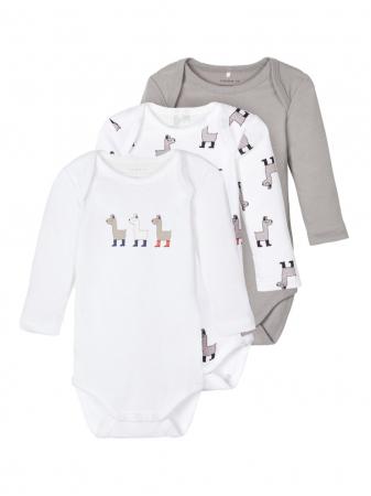Set 3 body-uri bebelusi, bumbac organic, baieti - Lama0