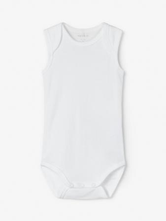 Set 3 body-uri bebelusi, tip maiou - Name It Solid white1