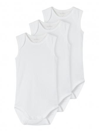 Set 3 body-uri bebelusi, tip maiou - Name It Solid white0