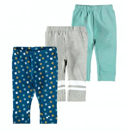 Set 3 pantaloni bebelusi, bumbac organic, baieti - Kalop0