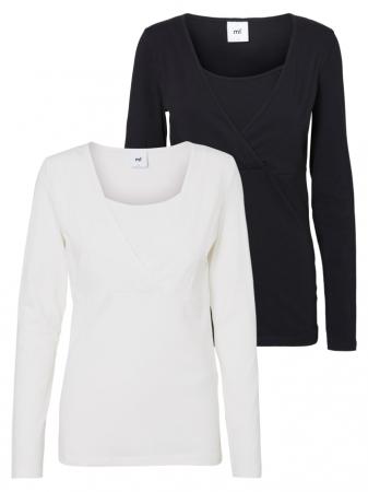 Set 2 bluze alaptare din bumbac organic Tess alb-negru0