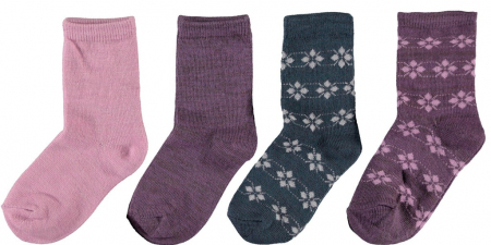 Sosete fete, din lana Merinos, set 4 perechi - Name it Wak0