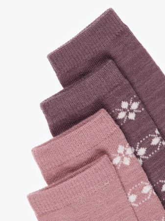 Sosete fete, din lana Merinos, set 4 perechi - Name it Wak11