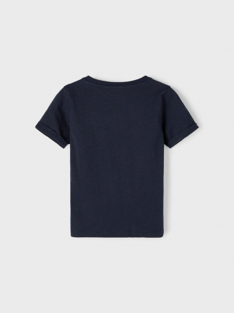 Tricou copii, bumbac organic, baieti - Name It Vebbe Sapphire1