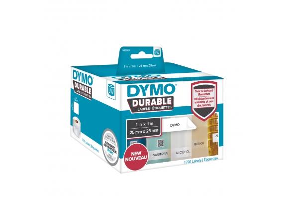 Etichete termice industriale, DYMO LabelWriter Durable, multifunctionale patrate, 25mmx25mm, polipropilena alba, 1 rola/cutie, 1700 etichete/rola, 1933083-big
