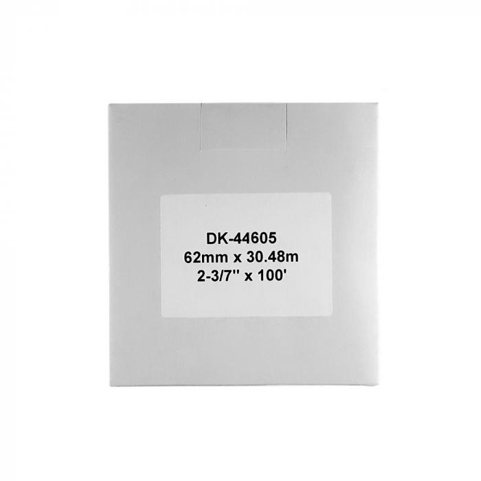 Etichete termice autocolante compatibile, Brother DK-44605, hartie galbena, modul continuu, repozitionabile, 62mmx30.48m, suport din plastic inclus DK44605-C-big