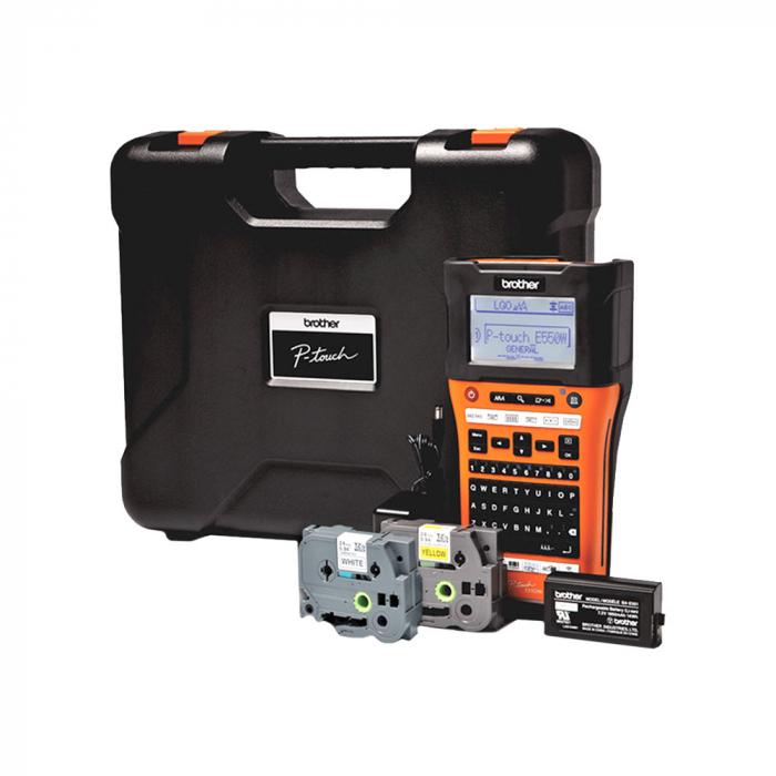 Aparat etichetat portabil Brother PT-E550WSP Kit, QWERTY, 180 Dpi, conectare Wi-Fi si USB, cutter automat, latime banda max. 24 mm, include 2 benzi TZE 24 mm Strong Adeziv-big