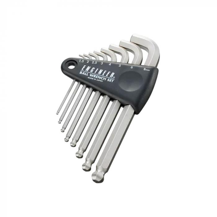 Set chei hexagonale cu cap tip bila magnetizat Engineer, timp imbus, unghi de lucru 30⁰, nichelate in camp electrostatic, brat lungime standard, uz general, 8 chei/set, fabricat in Japonia-big