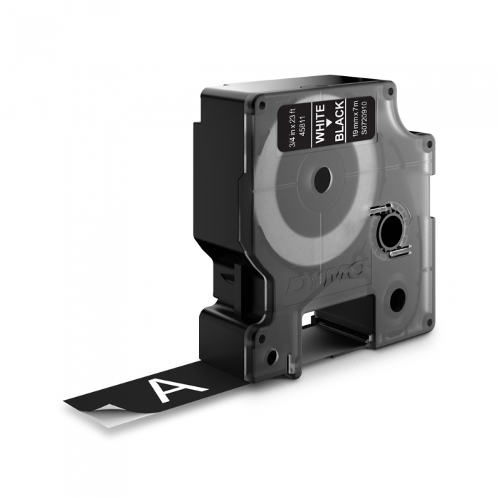 Etichete autocolante plastifiate, DYMO LabelManager D1, 19mm x 7m, alb/negru, 45811 S0720910-big