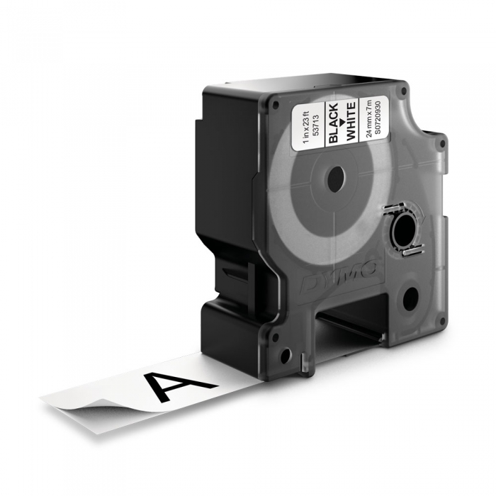 Etichete autocolante plastifiate, DYMO LabelManager D1, 24mm x 7m, negru/alb, 53713 S0720930-big