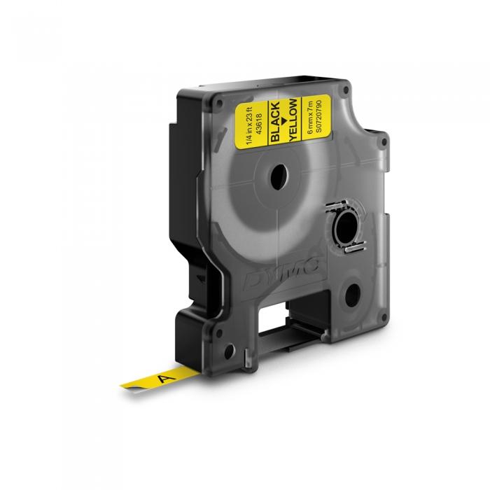 Etichete autocolante, DYMO LabelManager D1, 6mm x 7m, negru/galben, 43618, S0720790-big