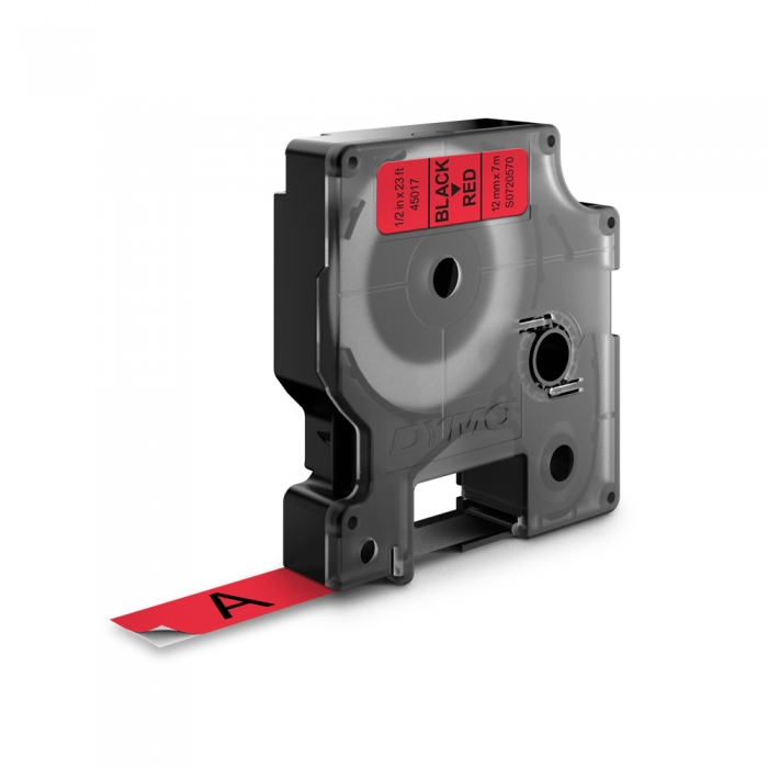 DYMO LabelManager D1 labels, 12mm x 7m, black on red, 45017, S0720570-big