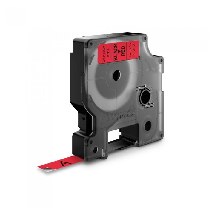 Etichete autocolante, DYMO LabelManager D1, 9mm x 7m, negru/rosu, 40917, S0720720-big
