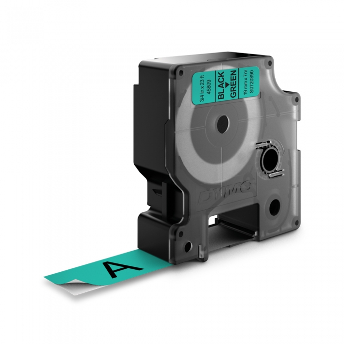 Etichete autocolante plastifiate, DYMO LabelManager D1, 19mm x 7m, negru/verde, 45809 S0720890-big