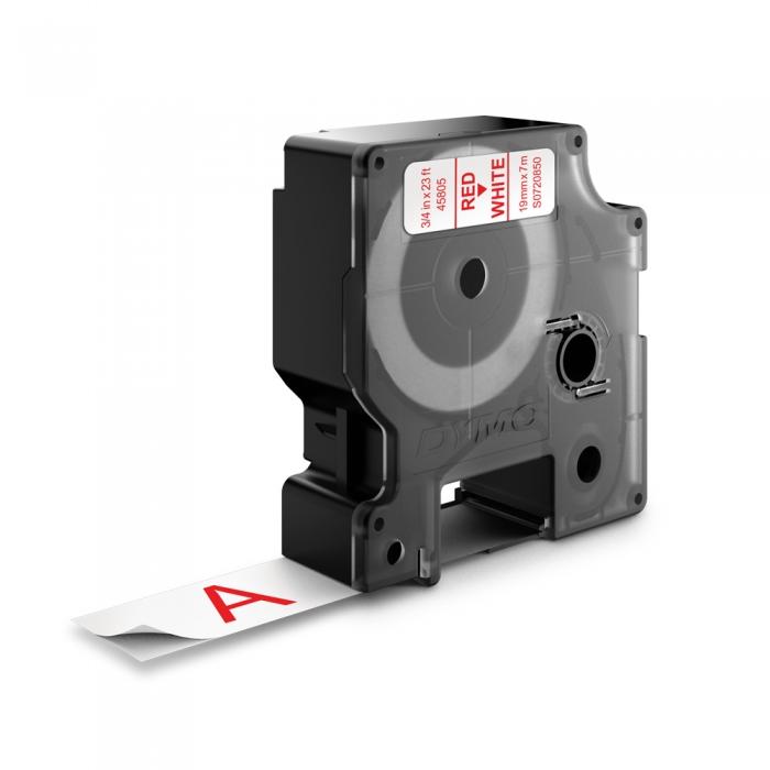 Etichete autocolante plastifiate, DYMO LabelManager D1, 19mm x 7m, rosu/alb, 45805 S0720850-big