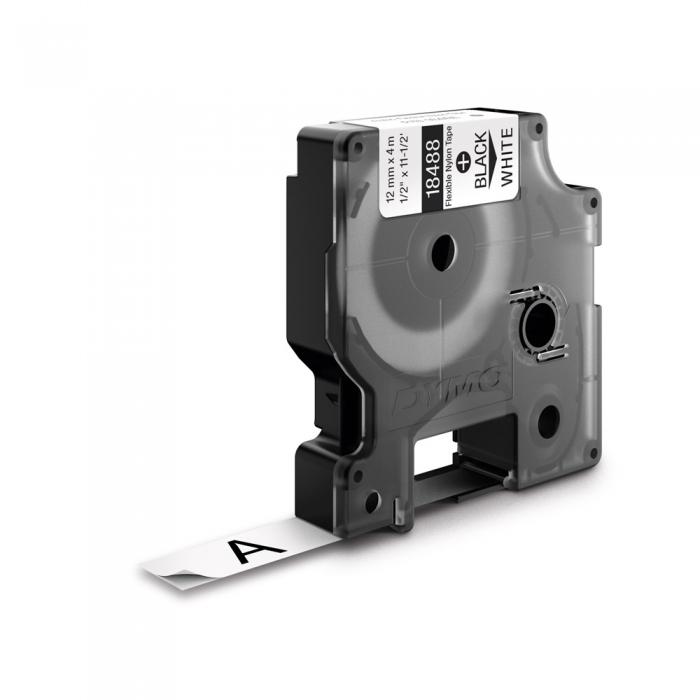 Etichete industriale autocolante, DYMO ID1, nailon flexibil, 12mm x 3.5m, negru/alb x 5 buc, 18488 S0718100-big