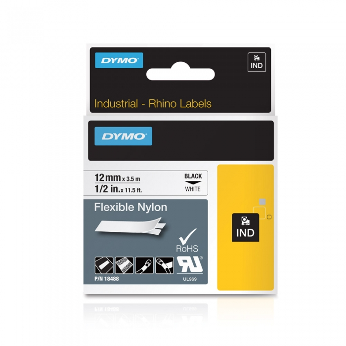 DYMO industrial ID1 flexible nylon labels, 12mm x 3.5m, black on white x 5 pcs, 18488 S0718100-big