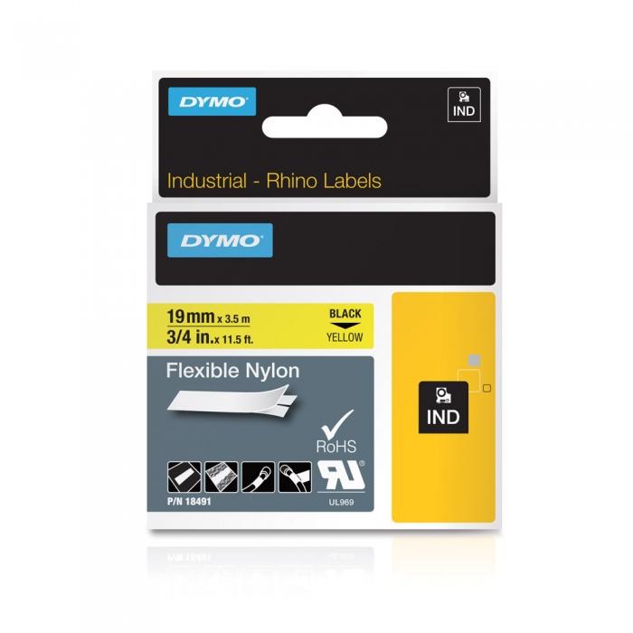 DYMO industrial ID1 flexible nylon labels, 19mm x 3.5m, black on yellow, 18491-big