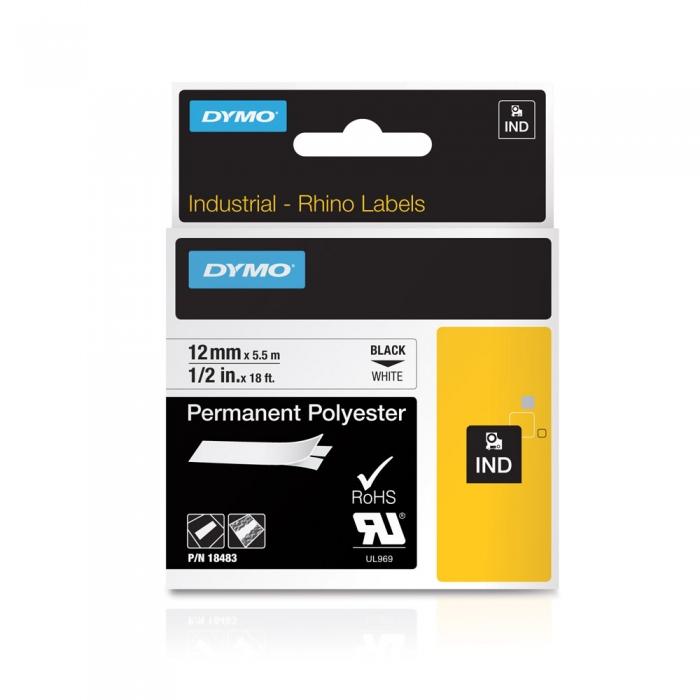 Etichete industriale autocolante, DYMO ID1, poliester permanent, 12mm x 5.5m, negru/alb, 18483 S0718210-big
