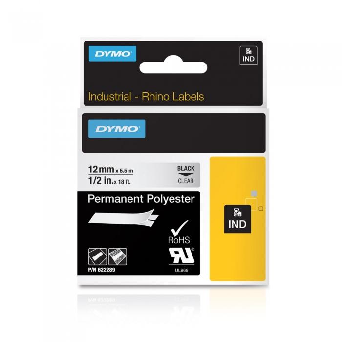 Etichete industriale autocolante, DYMO ID1, poliester permanent, 12mm x 5.5m, negru/transparent, 622289-big