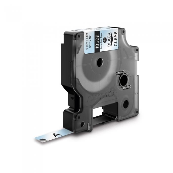 Etichete industriale autocolante, DYMO ID1, poliester permanent, 9mm x 5.5m, negru/transparent, 18508DMO-big