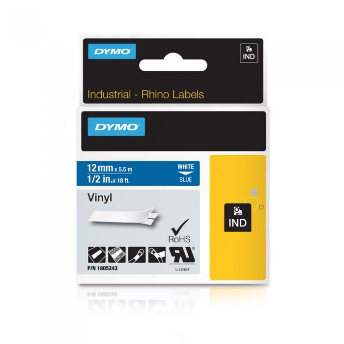 Etichete industriale autocolante, DYMO ID1 vinil, 12mm x 5.5m, alb/albastru, 1805243-big