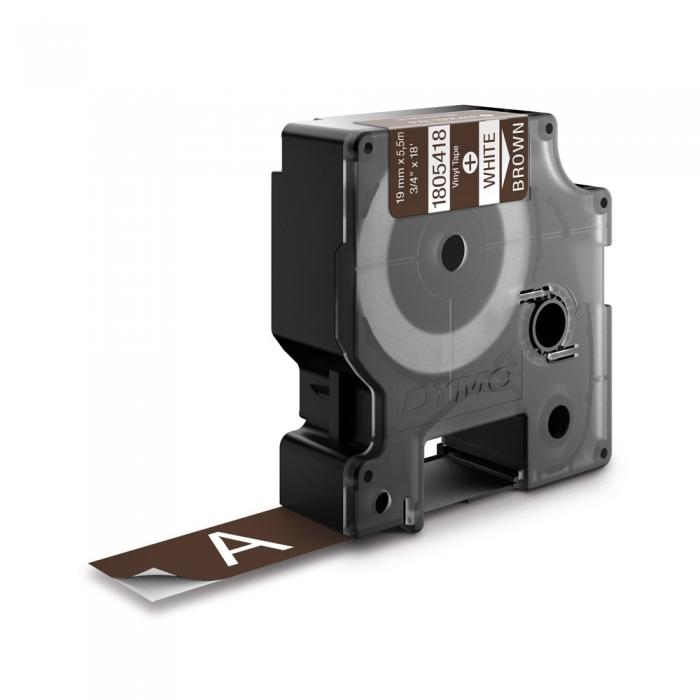 Etichete industriale autocolante, DYMO ID1 vinil, 19mm x 5.5m, alb/maro, 1805418-big