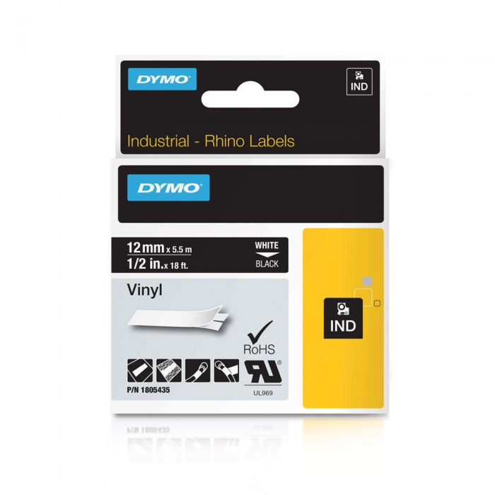 DYMO industrial, All purpose vinyl labels, 12mm x 5.5m, white on black, 1805435-big